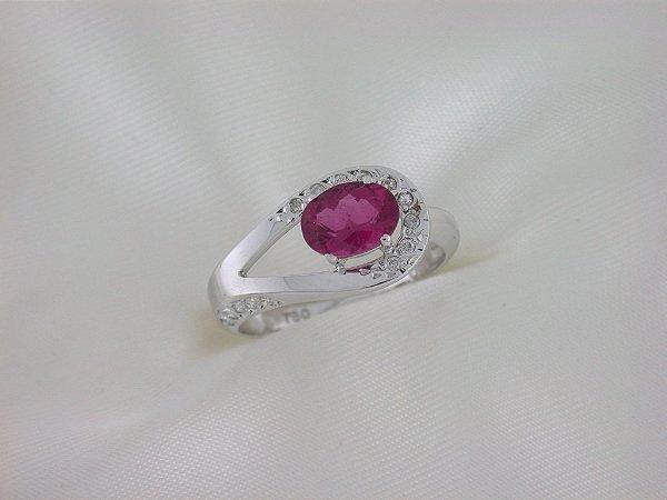 Anel de Ouro 18k  - Rubelita - Pedra Preciosa - Especial