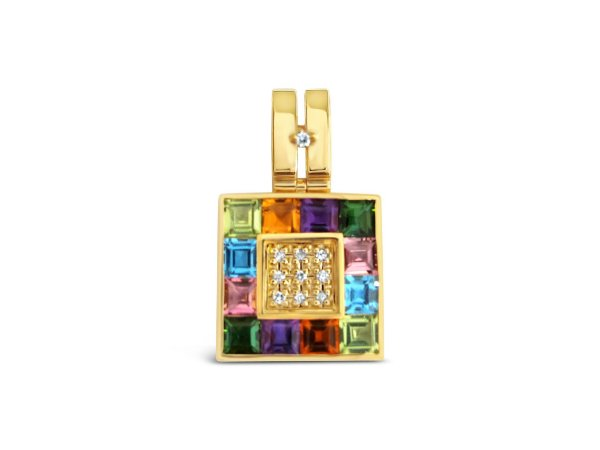 Pingente de Ouro 18k - Mix - Pedra Preciosa - Encantador