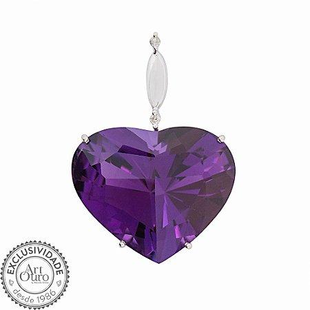 Pingente  de Ouro 18k - Ametista - Pedra Preciosa - Coração