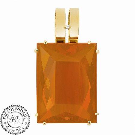 Pingente de Ouro - Opala de Fogo - Pedra Preciosa - Charmosa