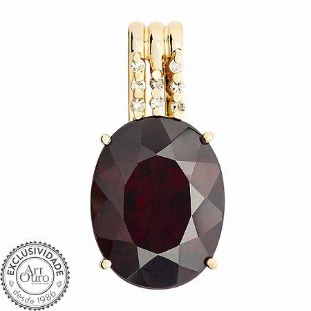 Pingente de Ouro - Granada - Pedra Preciosa - Oval - Desejável