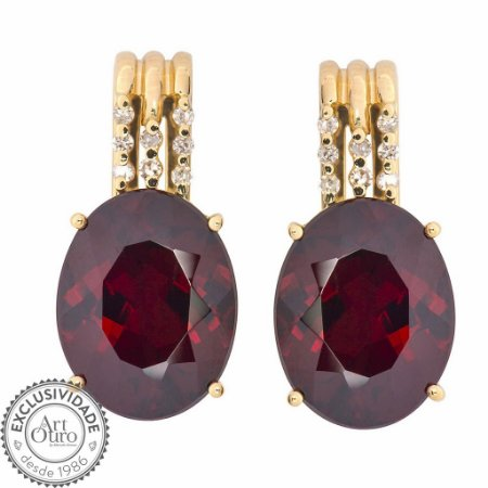 Brinco de Ouro - Granada - Pedra Preciosa - Diamante - Desejável