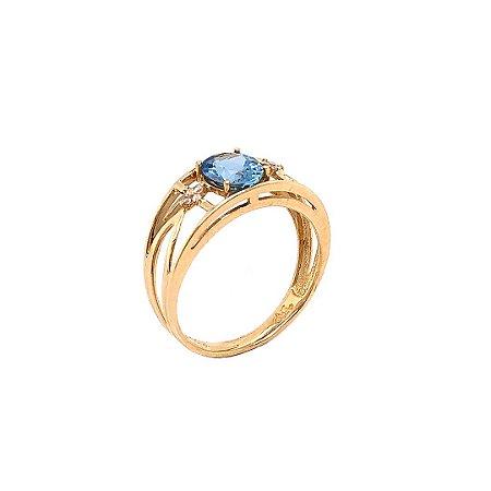 Anel de Ouro - Água Marinha - Pedra Preciosa - Desejável