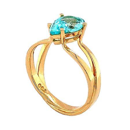 Anel de Ouro 18k - Paraiba - Pedra Preciosa - Força