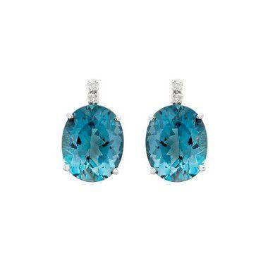 Brinco de Ouro 18k  - Topázio Azul - Pedra Preciosa - Luxo