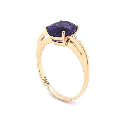 Anel De Ouro 18k - Ametista - Pedra Preciosa - Oval - Glamuroso