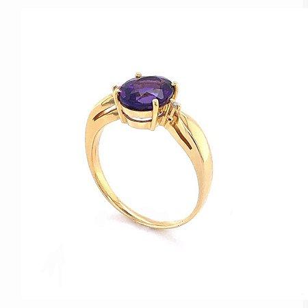 Anel de Ouro - Ametista - Pedra Preciosa - Notável