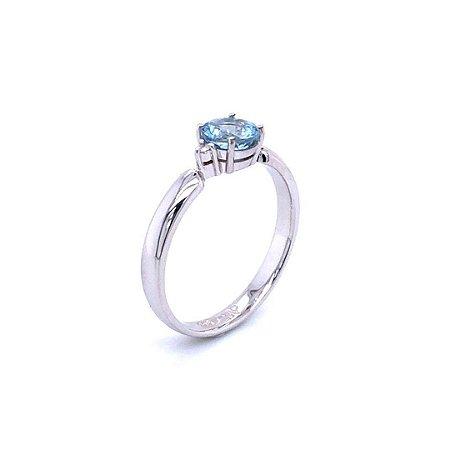 Anel de Ouro  - Agua Marinha - Pedra Preciosa - Romantico
