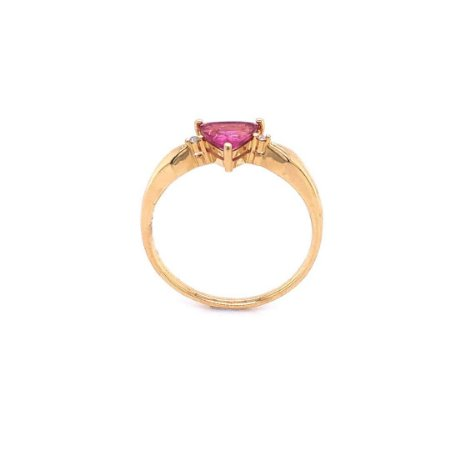 Anel de ouro  - Rubelita - Pedra Preciosa - Luxo