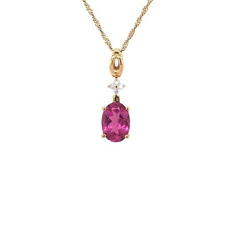 Pingente - Ouro - Rubelita - Pedra Preciosa - Luxo