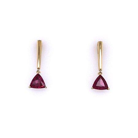 Brinco de Ouro 18k - Rubelita - Pedras Preciosas - Oval - Luxo