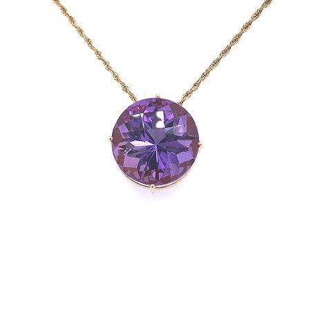 Pingente de Ouro - Ametista - Redonda - Pedra preciosa - Exuberante