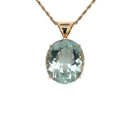 Pingente de Ouro 18k - Praziolita - Pedra Preciosa - Encantador