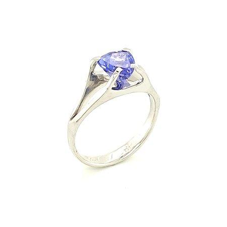 Anel de Ouro 18k - Tanzanita - Pedra Preciosa - Trilhante - Magnífico