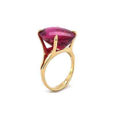 Anel de Ouro 18k - Rubelita - Pedra Preciosa