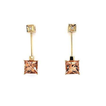 Brinco de Ouro 18k - Topázio Imperial - Pedra Preciosa - Sensacional