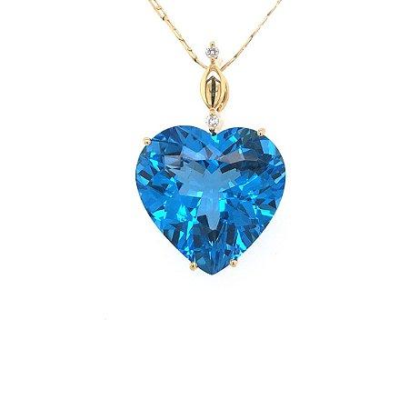 Pingente - Topázio Azul - Ouro 18k - Coração