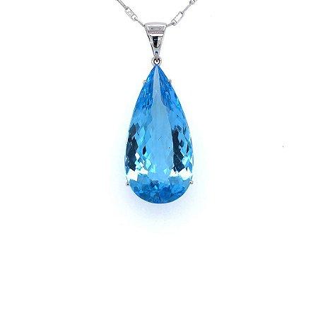 Pingente - Ouro 18k - Topázio Azul  - Gota