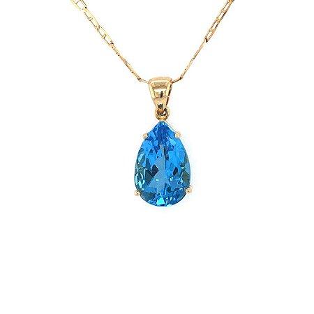 Pingente - Ouro 18k -Topázio Azul - Gota