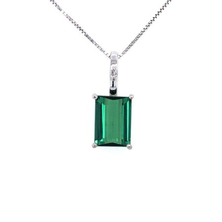 Pingente de Ouro 18k - Turmalina - Retangular - Diamante