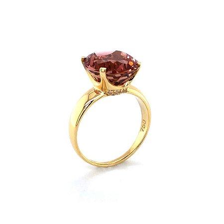 Anel De Ouro 18k - Turmalina Rosa -Pedra Preciosa - Oval