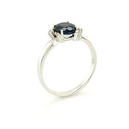 Anel de Ouro 18K - Turmalina Indicolita - Pedra Preciosa - Oval