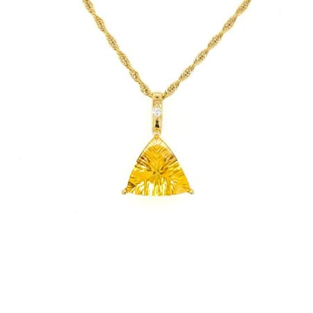 Pingente de Ouro 18k - Pedra Preciosa - Citrino - Trilhante