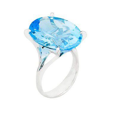 Anel - Ouro  - Topázio Azul - Oval - Pedra Preciosa - Adorável