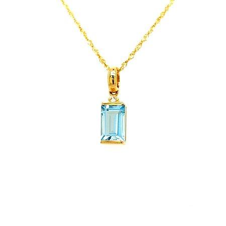 Pingente de Ouro - Topázio Azul - Pedra Preciosa - Admirável