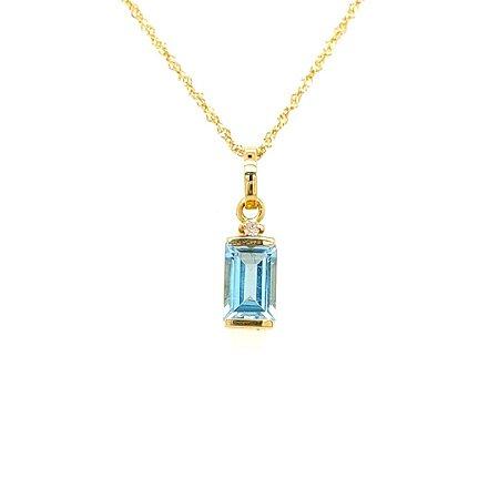Pingente de Ouro - Topázio Azul - Pedras Preciosas - Retangular - Admirável