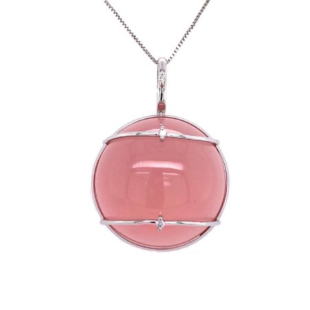 Pingente Ouro - Quartzo Rosa - Pedra Preciosa - Sofisticada