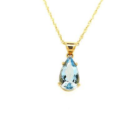 Pingente - Ouro 18k - Pedra Preciosa - Água Marinha - Gota