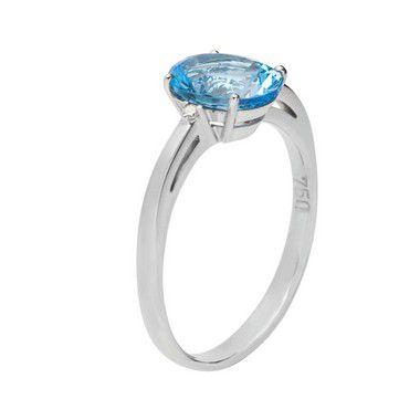 Anel Ouro - topázio azul - Pedra Preciosa - Desejável