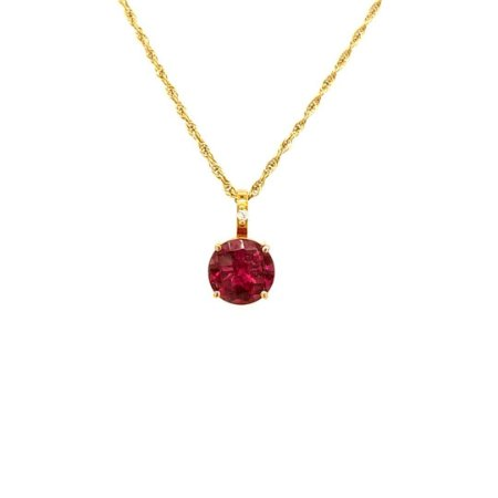 Pingente de Ouro 18k - Rubelita - Circular - Adorável