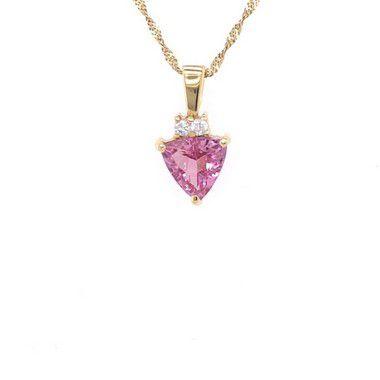 Pingente de Ouro - Turmalina - Rosa - Pedra Preciosa - Fabuloso