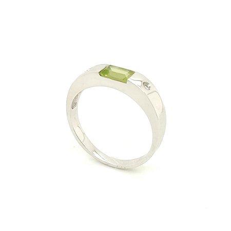 Anel de Ouro Branco - 18k - Peridoto - Pedras Preciosas - Admirável