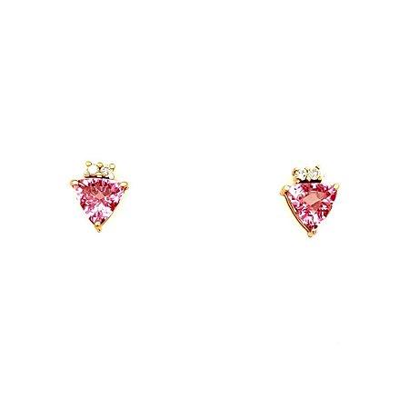 Brinco de Ouro 18K - Turmalina - Rosa - Pedra Preciosa - Fabuloso