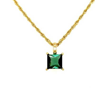 Pingente - Ouro 18k - pedra preciosa - Turmalina Verde