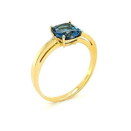 Anel - Ouro - 18k - Topázio Azul - Antique
