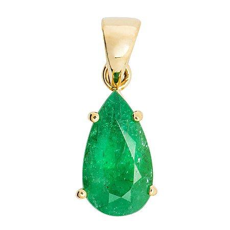 Pingente de Ouro - Esmeralda - Pedra Preciosa - Gota - Exuberante