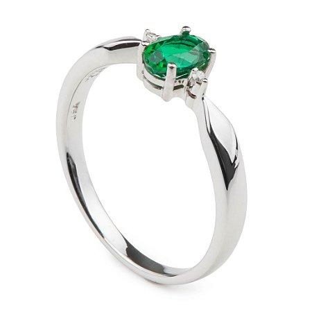 Anel  Ouro 18k - Esmeralda - Pedra Preciosa - Oval - Glamurosa