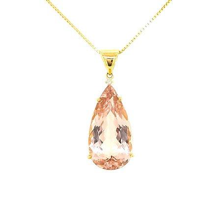 Pingente de Ouro - Morganita - Pedra Preciosa - Esplendida