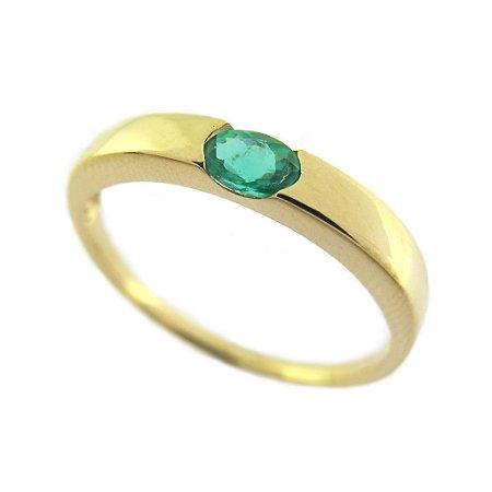 Anel - Esmeralda - Ouro 18k