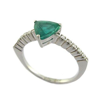 Anel De Ouro 18k - Esmeralda - Pedras Preciosas - Trilhante