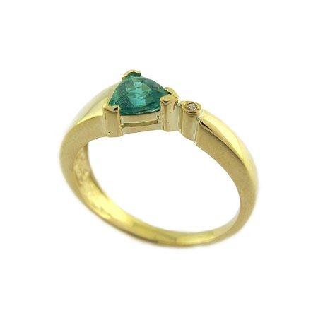 Anel de Ouro 18k - Esmeralda - Pedra Preciosa - Encanto