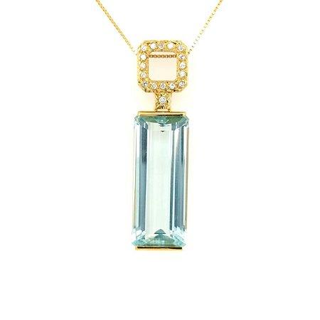 Pingente de Ouro - Água Marinha - Deslumbrante - Diamante