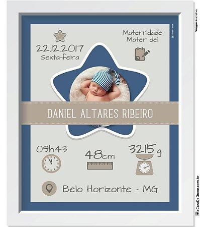 Quadro Personalizado Bebê - Nascimento Menino