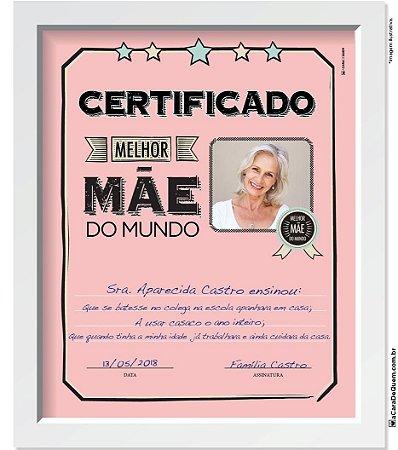 Quadro Personalizado Mãe - Certificado Melhor