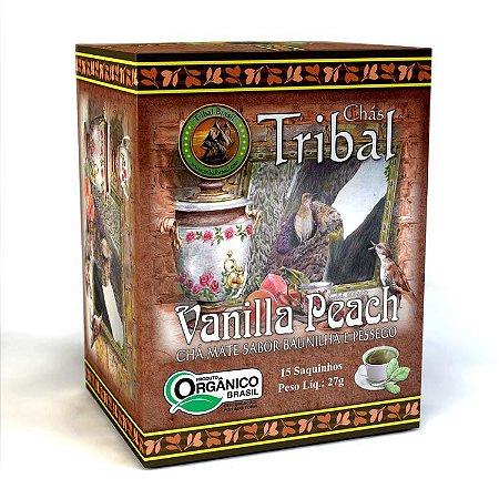 Chá  Misto Orgânico Vanilla Peach, Chá Mate sabor baunilha e pêssego  15 saquinhos - Tribal