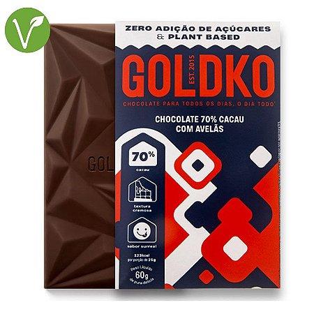 Chocolate 70% cacau com avelãs - Goldko